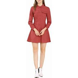 Allegra K Women's Cotton Dresses Casual Solid Long Sleeve Vintage Shirt Dress, Size: XS, Red