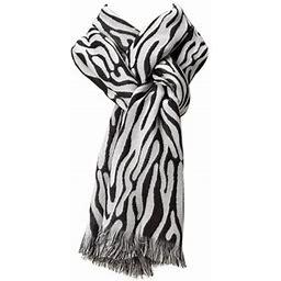 Amtal Women Safari Zabra Print Design Reversible Soft Pashmina Shawl Scarf, Women's, Size: One Size, White