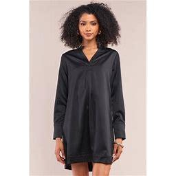 CC Wholesale Clothing Jet Black Satin V-Neck Long Sleeve Relaxed Fit Shirt Dress S, Women's, Size: XS