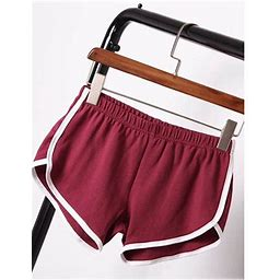 Canis Summer Pants Women Sports Shorts Gym Workout Waistband Skinny Yoga Short, Women's, Size: Small, Red