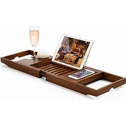 Bambusi Bathtub Caddy With Extendable Sides, Wine Glass Holder, Book Stand And Phone Tray, Gray