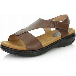 Dailyshoes Women's Casual Cushioned Adjustable Strap Flat Platform Open Toe Sandals, Brown PU, 8.5 B(m) US, Size: Medium