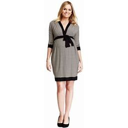 Olian Clothing Olian Maternity Women's Black Ivory Stripes Faux Wrap Dress, Size: XS, Beige