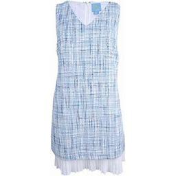 Cece Women's V-Neck Pleated Hem Shift Dress (12, Great Harbour), Blue