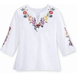 Embroidered Floral Tunic Top Size Small By Favoites | 100% Cotton