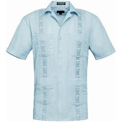G-Style USA Men's Guayabera Cuban Dress Shirt Casual Short Sleeve Button-Up - Omega - Light Blue - Large
