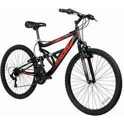 Hyper Bicycles 26 Inch Shocker Men's Dual Suspension Mountain Bike, Black Size: 26 Inch
