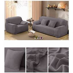 Couch Sofa Slipcovers,Home Full Stretch Lightweight Elastic Fabric Soft Couch Covers Sofa Protector,Fit Many 1-4 Sofas(Gray,4Seat), Size: 4Seats