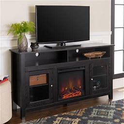 Walker Edison Tall Fireplace TV Stand For Tvs Up To 64 Inch - Black Size: 32 Inch H X 58 Inch W X 16 Inch Large,Walker Edison Tall Fireplace TV Stand For Tvs Up To 64 Inch - Black Size: 32Inch X 58Inch