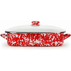 Golden Rabbit Red Swirl Enamelware Collection 10.5 Quart Roasting Pan - Red