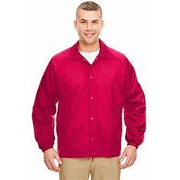 Ultraclub Nylon Coaches' Jacket, Men's, Size: Large, Red