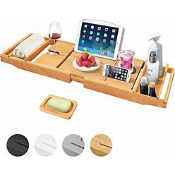 Artmalle Bathtub Caddy Tray For Luxury Bath Expandable Bathroom Organizer With Wine And Book Holder Free Soap Holder
