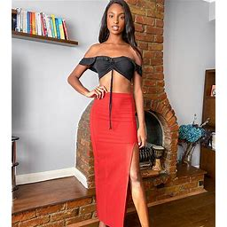 ASOS DESIGN Tall Maxi Skirt With Thigh Split In Rust-Red - Red (size: 8)