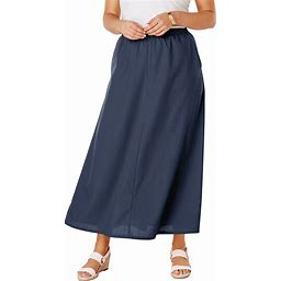 Plus Size Women's Linen Maxi Skirt By Jessica London In Navy Blue (28 Wide)