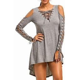 Fresh Look Women's Fashion Sexy Strapless Bandage Irregular Dress Autumn Long Sleeve V-neck Off Shoulder Cocktail Party Dresses, Size: XL, Gray