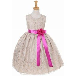 Cinderella Big Girls Champagne Lace Fuchsia Sash Sleeveless Dress 12, Girl's, Beige