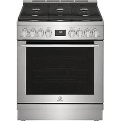"""ECFD3068AS 30"""" Dual Fuel Range With 5 Burners 4.4 Cu. Ft. Oven Capacity True Convection Continuous Cast Iron Grates And Temperature Probe In Stainless"""