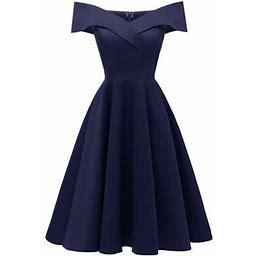 Eccomum Elegant Women Off Shoulder Dress V Neck Short Sleeve Solid Pleated Cocktail Party A-line Swing Dress Burgundy/Dark Blue, Women's, Size: 2XL