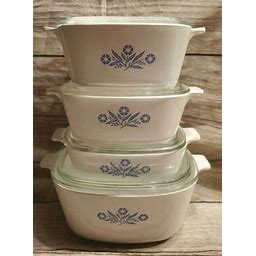 Vintage Corning Ware Blue Cornflower Casserole Dish Set 4 Pieces With