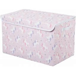 Your Zone Foldaway Toy Storage Trunk With Attached Lid, Pink With Unicorns