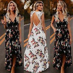 Meihuida Women Summer Vintage Boho Long Maxi Dress Party Beach Dress Floral Sundress, Women's, Size: Large, White