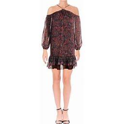 Aqua Womens Metallic Mini Flounce Dress, Women's, Size: XS, Black