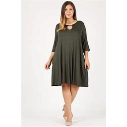 Sweet Lindsey Women's Plus Size Dress With A Relaxed Fit Key-hole Design Plus Size Casual Fashion Dress With Side Pockets, Size: 14 / 16 (1XL), Green