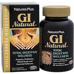 Natures Plus - Gi Natural Total Digestive Wellness With Enzymes, Probiotics, Whole Foods & Essential Cofactors (90 Tablets) - Digestive Enzymes