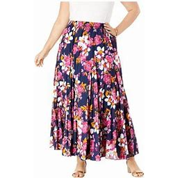Jessica London Women's Plus Size Flowing Crinkled Maxi Skirt Elastic Waist 100% Cotton, Size: 18