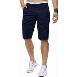 Incerun Men's Casual Bermuda Zipper Cargo Shorts Half Pants, Size: 36, Blue