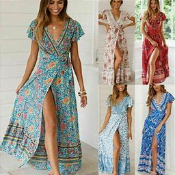 Meihuida Womens V-Neck Floral Split Dress Boho Summer Beach Casual Long Sundress, Women's, Size: Medium, Blue