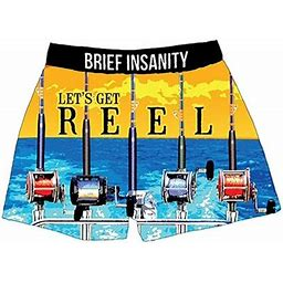 Brief Insanity Men's Boxer Shorts Underwear Fishing Rods And Reels Print, Size: 2XL, Blue