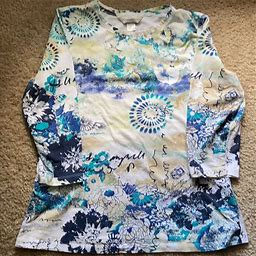 Christopher & Banks Tops | Navy, Turquoise & Tan Graphic Top | Color: Blue/Tan | Size: S