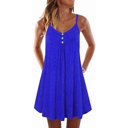 Amavo Summer Dress For Women Summer Pleated Mini Short Dress Girls Casual Loose Chic Holiday Beach Sun Dress, Women's, Size: 2XL, Blue