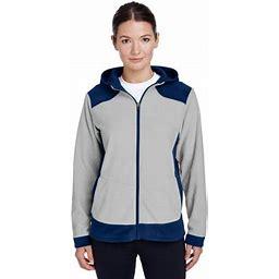 Team 365 Women's' Rally Colorblock Microfleece Jacket, Style Tt94w, Size: Medium, SP DK NVY/SP SIL