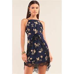 CC Wholesale Clothing Navy Multi Floral Halter Neck Sleeveless Front Self-Tie Lace Trim Slip Mini Dress S, Women's, Size: XS, Blue