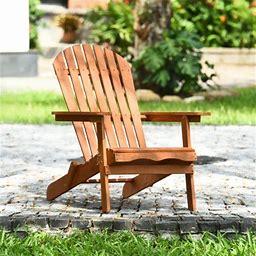 Outdoor Foldable Adirondack Chair Patio Recliner Eucalyptus Wood, Size: 21.8, Beige