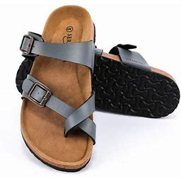 Seranoma Women's Toe Ring Cork Sandal | Classic Ladies Sandal | Flat Footed Dual Adjustable Buckle | Breathable Open Toe Slide | Comfort, Size: 6,