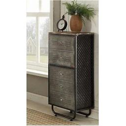 Locker Collection 2 Door Bookcase, Black & Grey, Gray