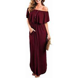 Vista Womens Off The Shoulder Ruffle Party Dresses Side Split Beach Maxi Dress, Women's, Size: 2XL, Red