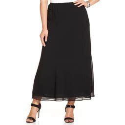 Msk Plus Size Chiffon Maxi Skirt - Black