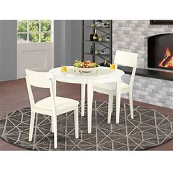 East West Furniture Boad3-Whi-Lc 3 Pc Kitchen Table Set With A Dining Table And 2 Faux Leather Kitchen Chairs In Linen White-Finish:Linen White,