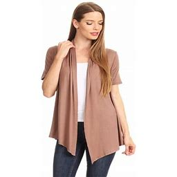Moa Collection Women's Basic Casual Solid Short Sleeve Open Front Cardigan (s-3x) Made In USA, Size: 3XL, Brown