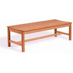 """59"""" Brown Natural Wood Finish Outdoor Furniture Patio Backless Bench"""