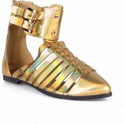 Nature Breeze Pointed Toe Women's Strappy Sandals In Gold