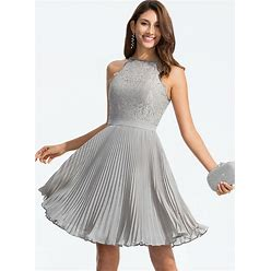 Jjshouse A-Line Scoop Neck Knee-Length Chiffon Homecoming Dress With Pleated