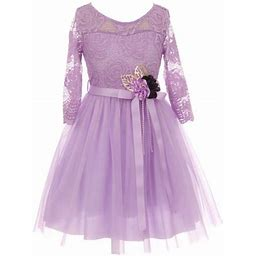 Dreamer P Big Girls' Long Sleeve Girls Dress Floral Lace Roses Corsage Easter Flower Girl Dress Lavender 12 (J20ks98), Girl's, Purple