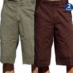 Stone Touch Jeans Stonetouch Mens Chino Shorts 2 Pcs Pack, 5FKx2, Olive + Chianti_38, Men's, Green