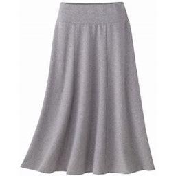 Women's Petite Everyday Knit Long Skirt, Light Grey Heather P-L, Appleseed's