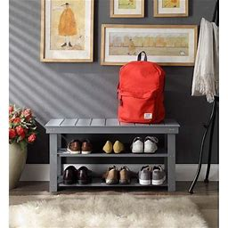 Convenience Concepts Oxford Utility Mudroom Bench, Multiple Finishes, Gray